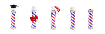 set classic barber pole, education, santa hat,  gift. 3d Illustrations on a white background
