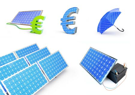 set solar green power on a white background 3D illustration, 3D rendering Zdjęcie Seryjne