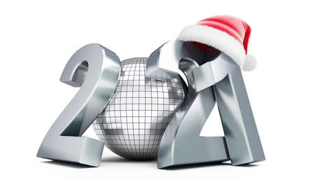 New Year 2021 santa hat Disco ball on a white background 3D illustration, 3D rendering Zdjęcie Seryjne