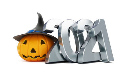 Helloween 2021 on a white background 3D illustration, 3D rendering Zdjęcie Seryjne