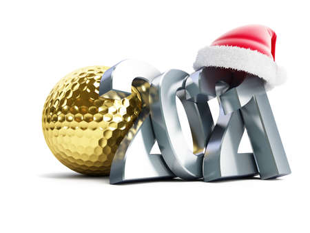 Gold golf ball 2021 new year santa hat on a white background 3D illustration, 3D rendering
