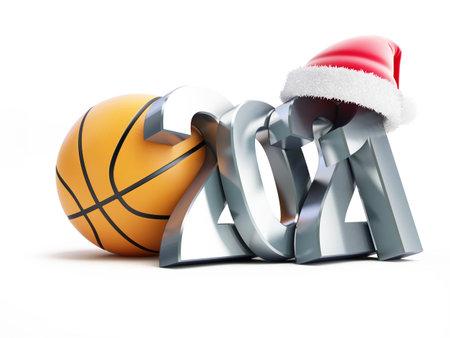Basketball new year 2021 santa hat on a white background 3D illustration, 3D rendering Zdjęcie Seryjne