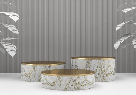 White marble and gold stage platform podium, for advertising product display background, 3d rendering.