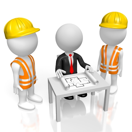3D construction company concept - boss and workers Stockfoto