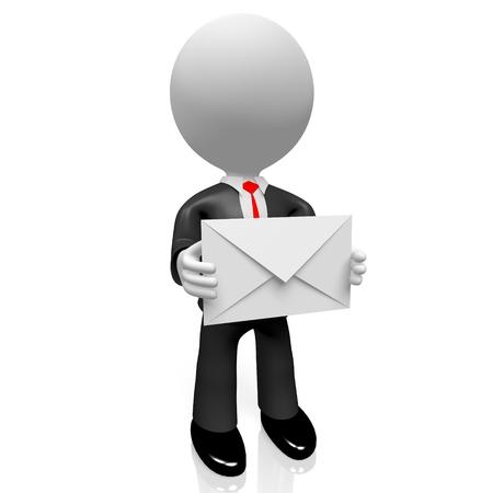 3D, hombre de negocios, correo, concepto Foto de archivo - 76422827