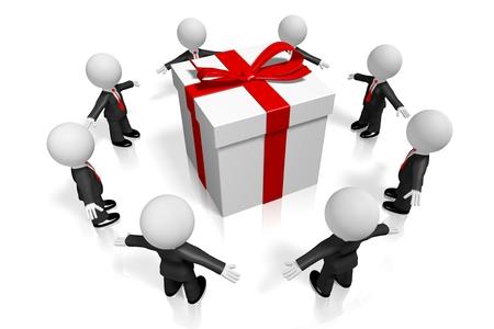 cartoon present: 3D gift  present concept