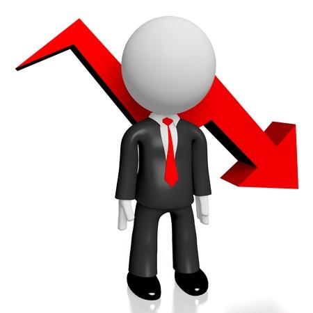 3D businessman crisis worried concept