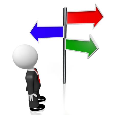 green issue: 3D crossroads businessman concept
