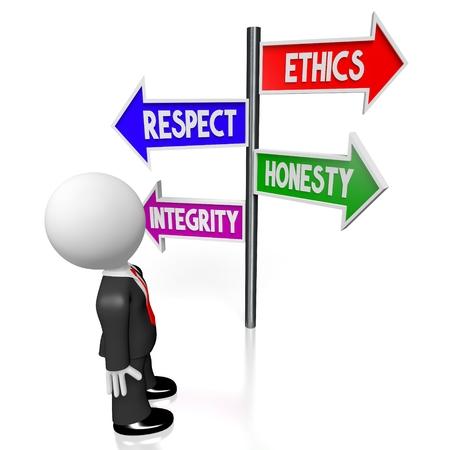 Éthique 3D, respect, honnêteté, concept d'intégrité