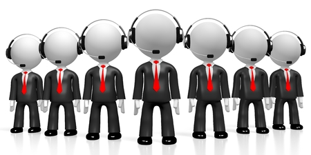 3D customer support call center concept Stock Photo
