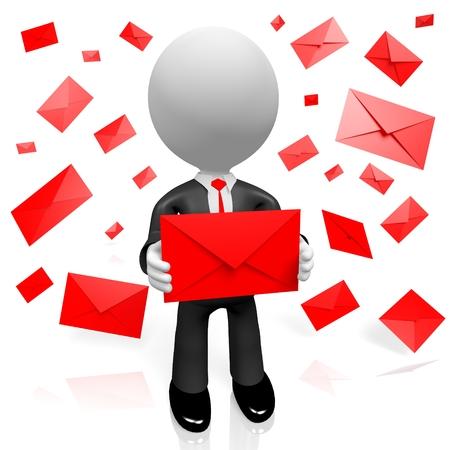 3D letters envelopes contact concept