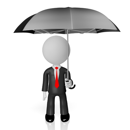 3D businessman with umbrella - insurance concept Stock Photo