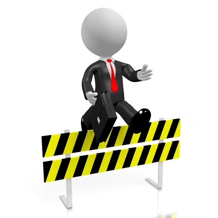 conquering adversity: 3D jumping over obstacle concept Stock Photo