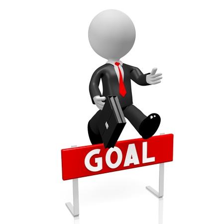 conquering adversity: 3D businessman goal concept