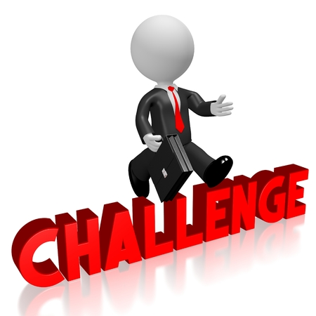 conquering adversity: 3D challenge concept Stock Photo