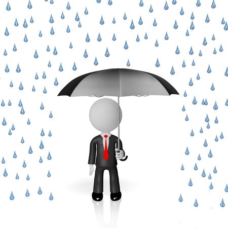 3D umbrella rain insurance concept