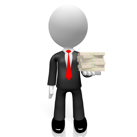 3D businessman, money concept