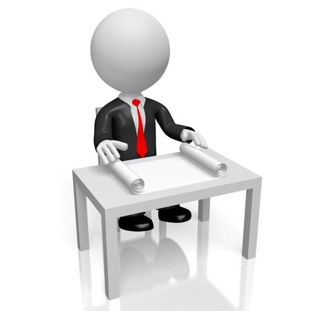 3D zakenman achter een bureau