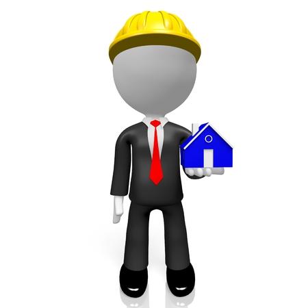 3D construction company house shape