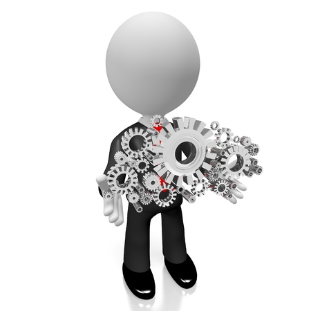 3D businessman gears cogs concept
