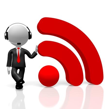 3D businessman RSS Wifi concept