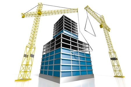 3D Bürogebäude - Baustelle Standard-Bild - 79005023