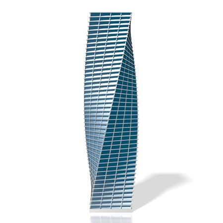 3D twisted office building skyscraper
