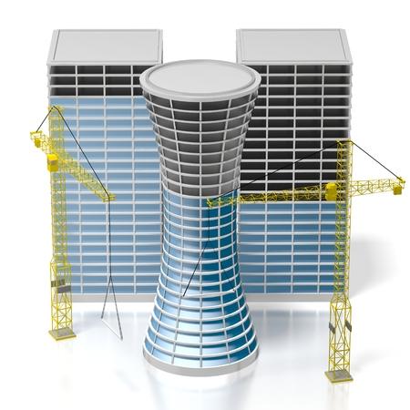 3D-Bürogebäude, Kräne Standard-Bild - 79004984