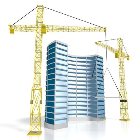 3D Rund Bürogebäude, Baustelle Standard-Bild - 79004921