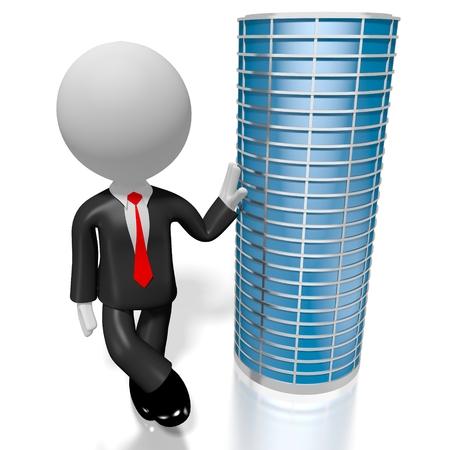3D office building, businessman Stock Photo