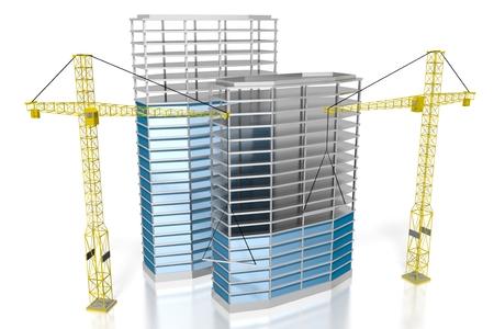3D moderne Bürogebäude, Baustelle Standard-Bild - 79004914