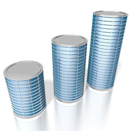 3D three office buildings