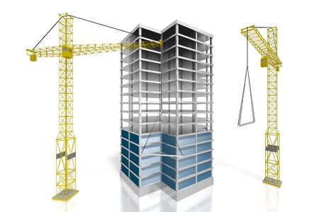 3D Bürogebäude - Baustelle Standard-Bild - 79004961
