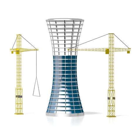 3D Bürogebäude, Kräne Standard-Bild - 79005001