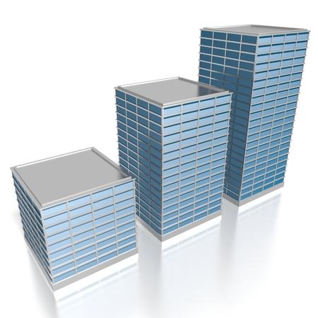 3D modern office buildings