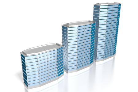 3D blue office buildings