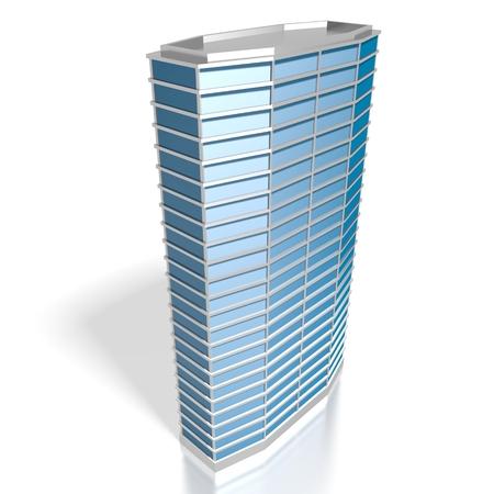 3D blue office building
