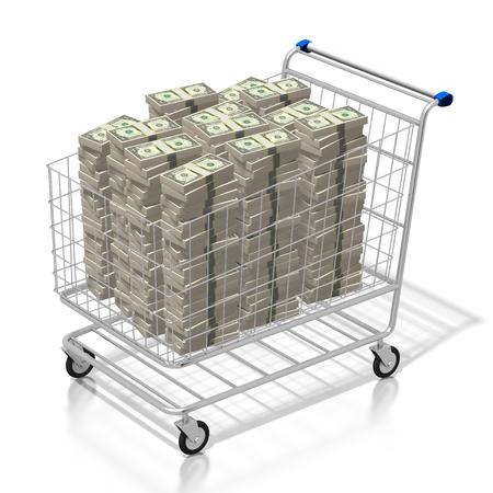 3D shopping cart, dollars