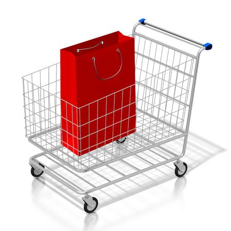 3D shopping cart, shopping bag Reklamní fotografie