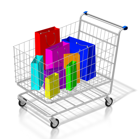 3D shopping cart, shopping bags