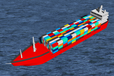 3D ship with cargo containers