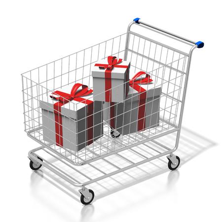 3D presents, shopping cart