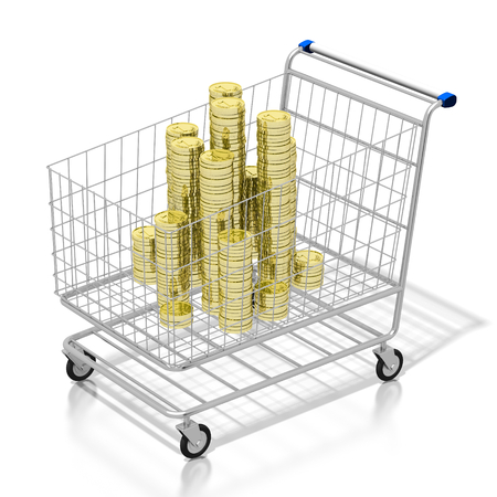 3D shopping cart, coins