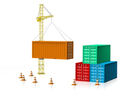 3D cargo containers, crane