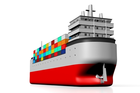 3D cargo ship with containers Imagens