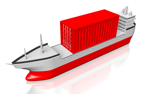 3D cargo ship with a container