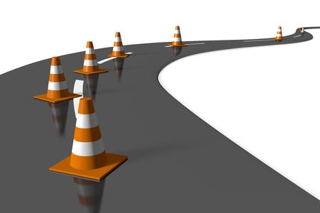 3D weg en verkeerskegels Stockfoto