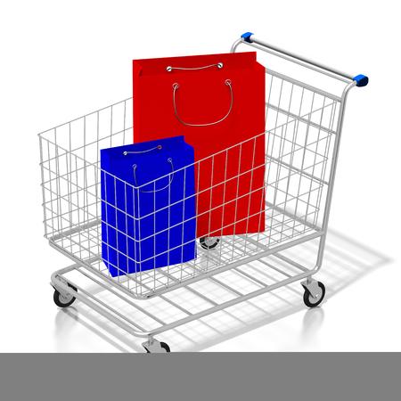 3D shopping cart, bags Banco de Imagens