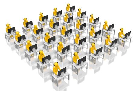 dispatcher: 3D call center concept Stock Photo