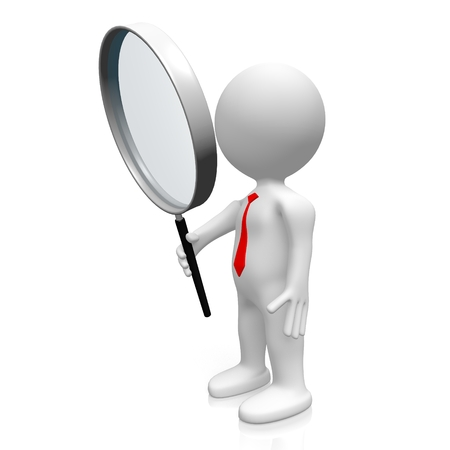 examine: 3D magnifying glass concept Stock Photo